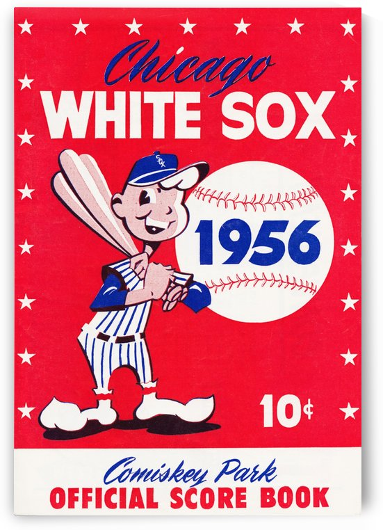 1956 chicago white sox score book canvas by Row One Brand