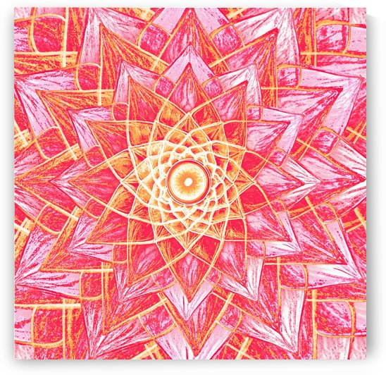 Red Flower Mandala Handdrawing  by CvetiArt