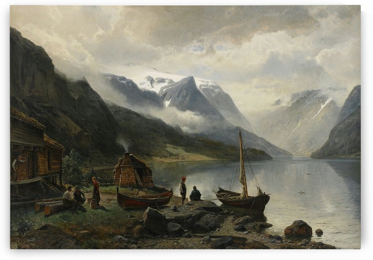 Along the fjord by Hans Fredrik Gude