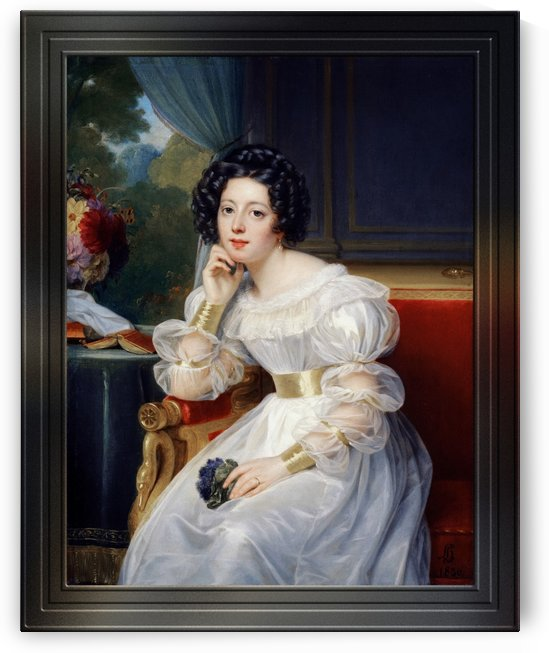 Portrait Of A Young Lady by Louis Hersent Classical Fine Art Reproduction by xzendor7