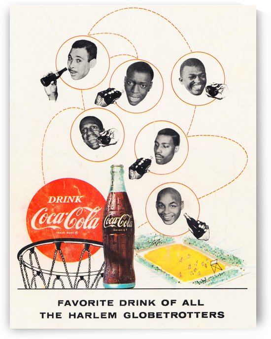 Harlem Globetrotters Basketball Vintage Coke Ad  by Row One Brand