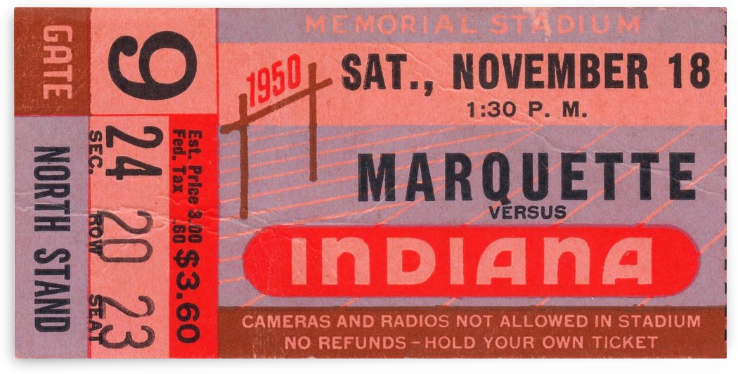 1950 Indiana vs. Marquette by Row One Brand