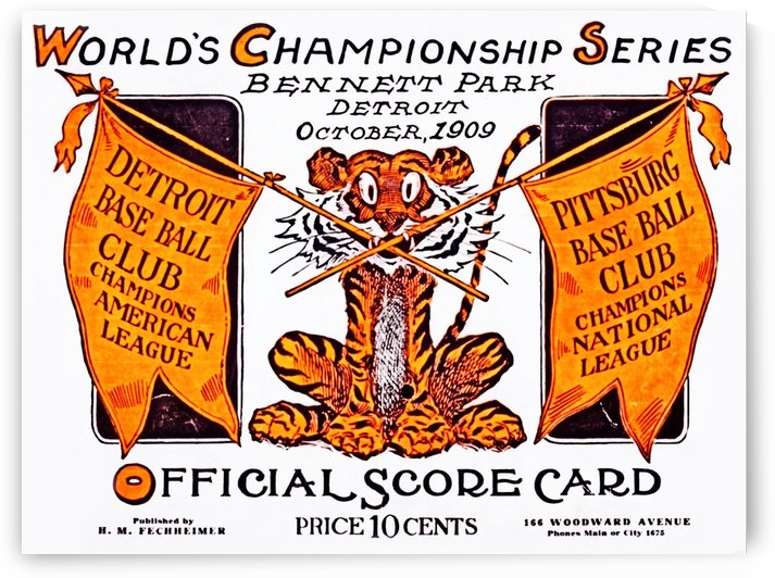 1909 world series detroit tigers bennett park score card by Row One Brand
