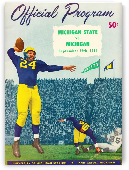 1951 michigan football program canvas art by Row One Brand