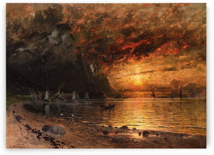 Fjord Landscape with Midnight Sun by Adelsteen Normann