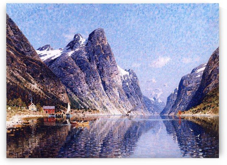A Norwegian Fjord Scene by Adelsteen Normann