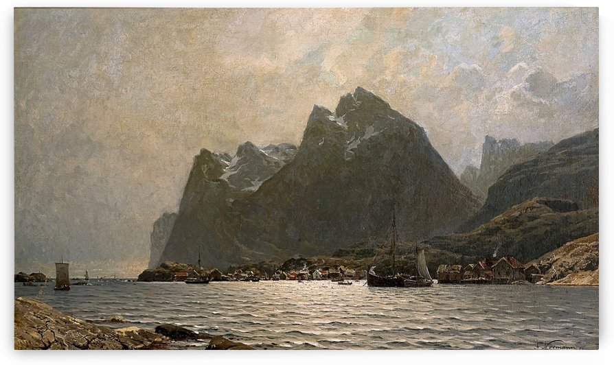 Fjord landscape with ships and figures by Adelsteen Normann