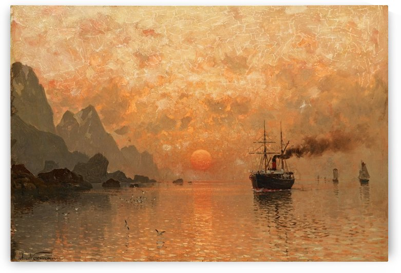 Ships in the Sunset by Adelsteen Normann
