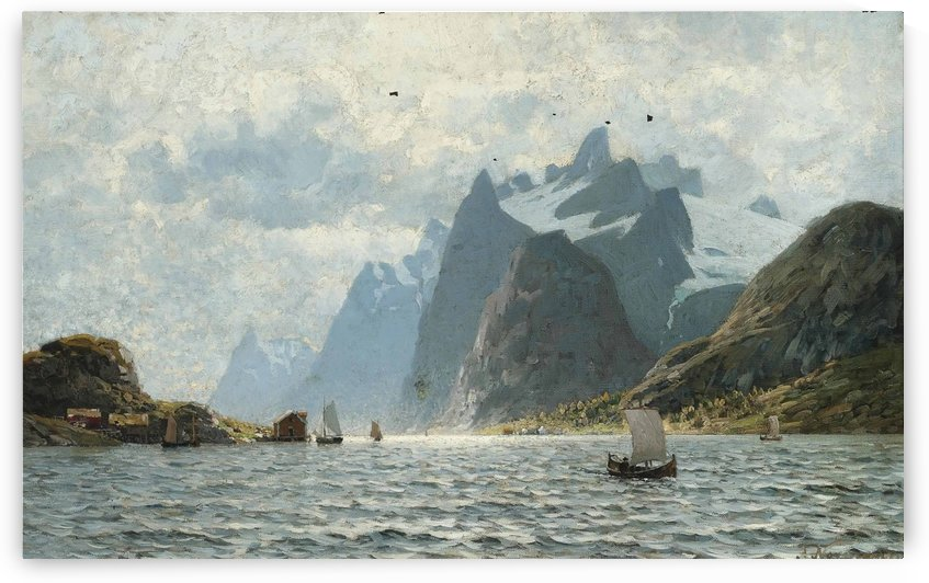Fishing vessels on a Norwegian fjord by Adelsteen Normann
