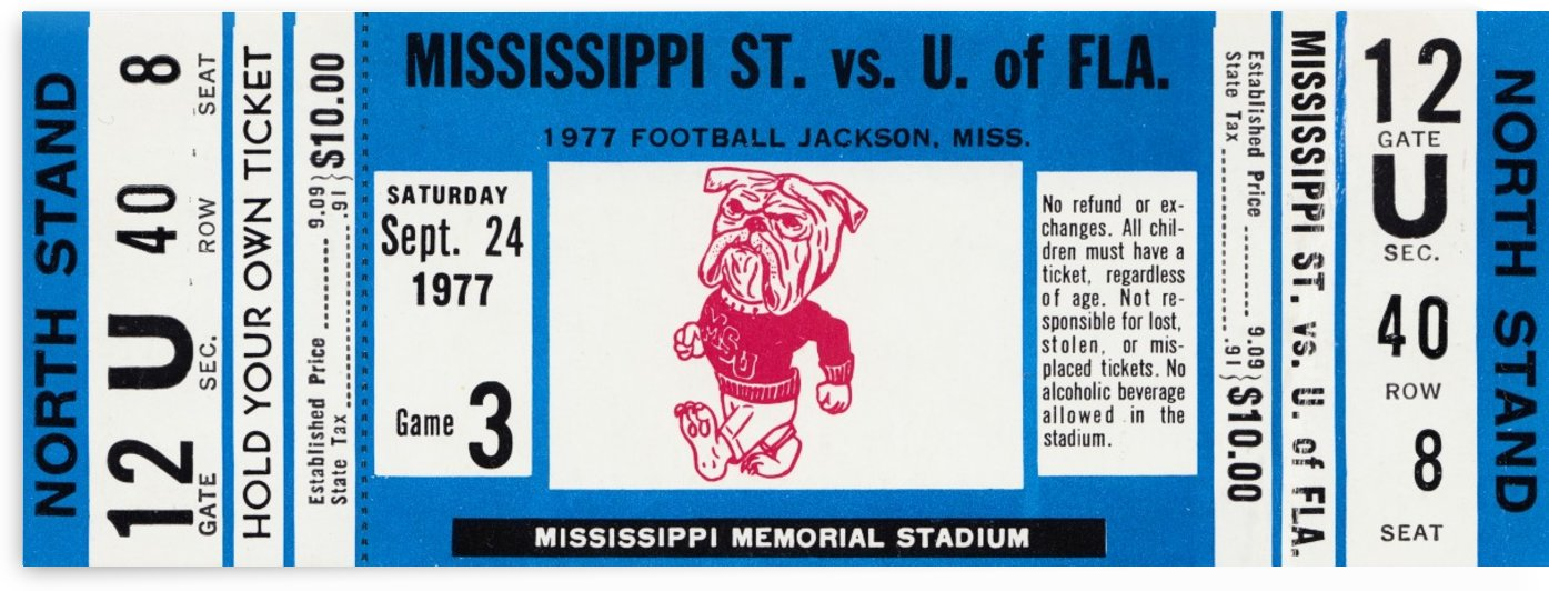 1977 mississippi state florida ticket art by Row One Brand