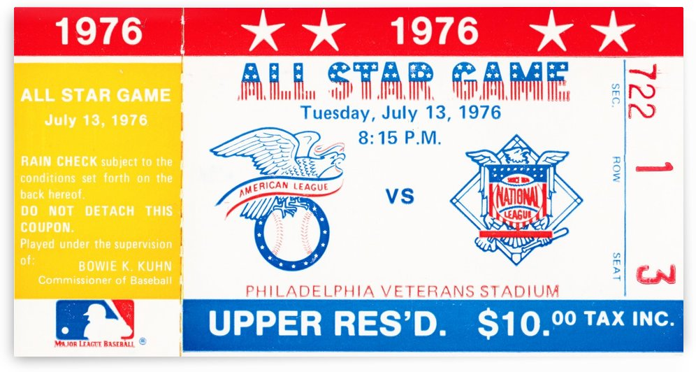 1976 major league baseball all star game philadelphia by Row One Brand