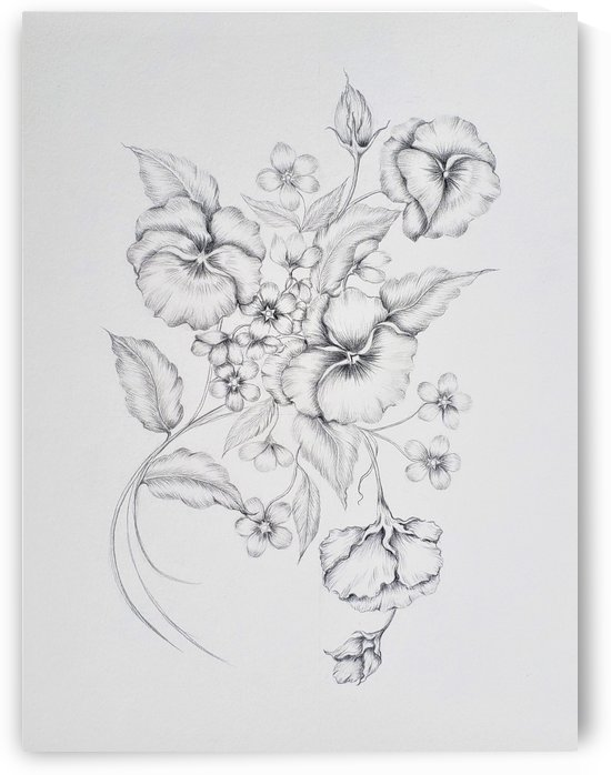 Floral Sketch by Norma Roman Creations