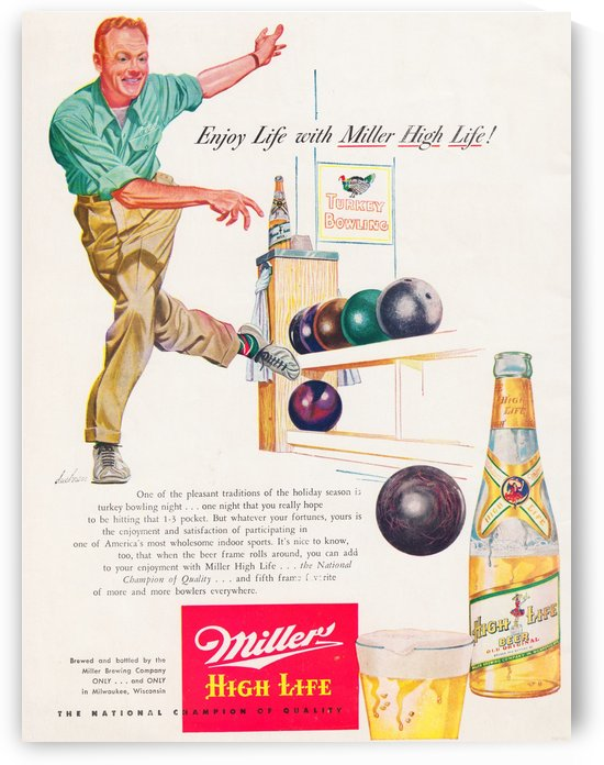 vintage miller beer advertisement bowling by Row One Brand