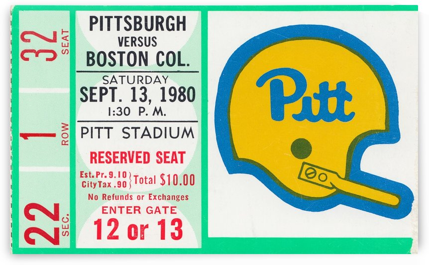 1980 boston college pitt panthers football ticket sports art by Row One Brand