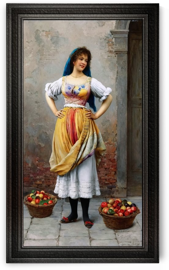 The Market Girl by Eugene de Blaas Classical Art Old Masters Reproduction by xzendor7