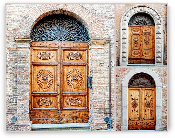 Trio of Old Wooden Doors Citta della Pieve by Dorothy Berry-Lound