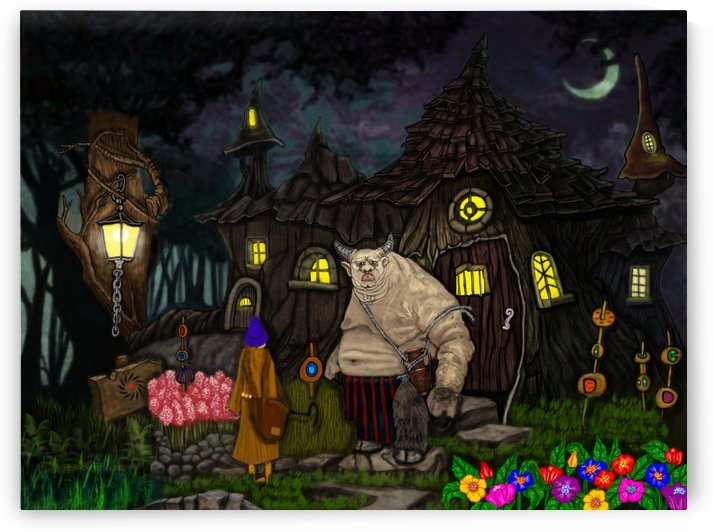 fat guy in forest house 18 x24 pic by Danny Less