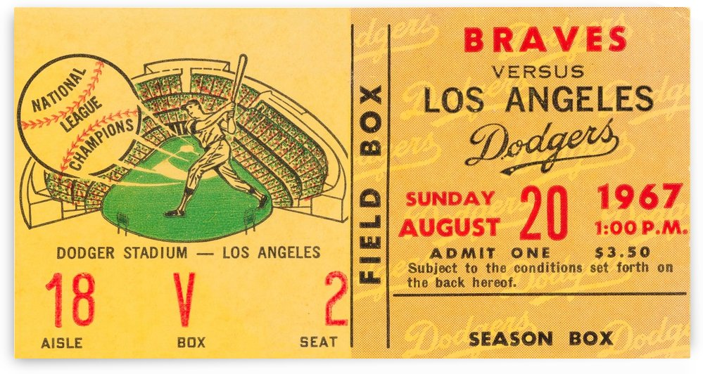 1967 la dodgers atlanta braves baseball sports ticket art  by Row One Brand