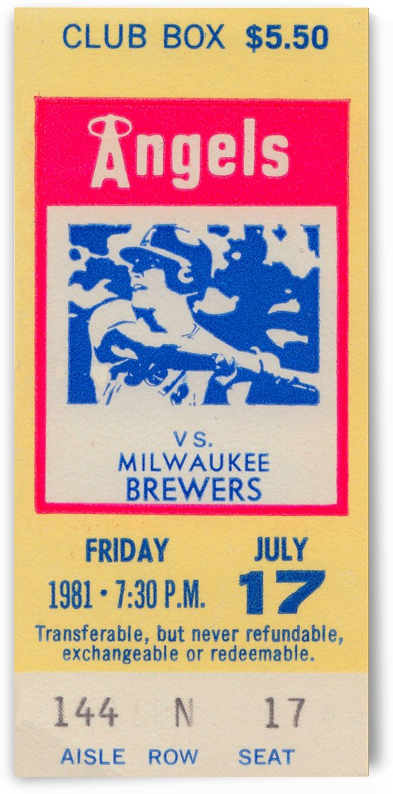 1981 california angels baseball ticket stub sports wall art by Row One Brand