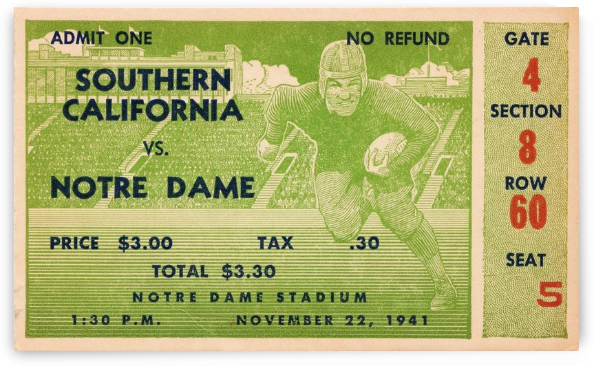 1941 usc notre dame football ticket wall art sports gift ideas south bend indiana by Row One Brand