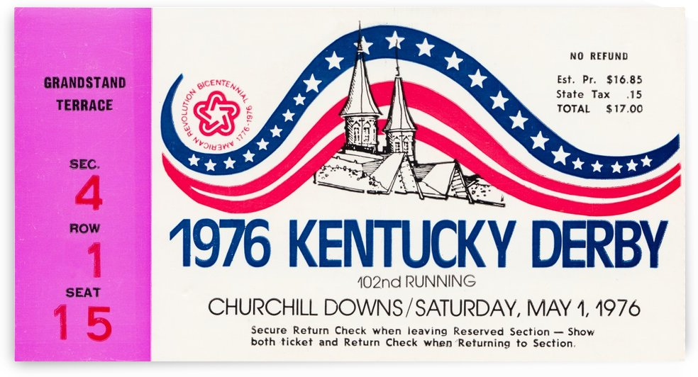 1976 kentucky derby sports ticket stub horse racing wall art gifts louisville ky by Row One Brand