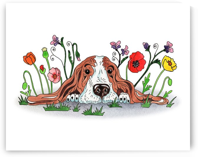 Super Sweet Cute Basset Poppy With Poppies Watercolor by Irina Sztukowski