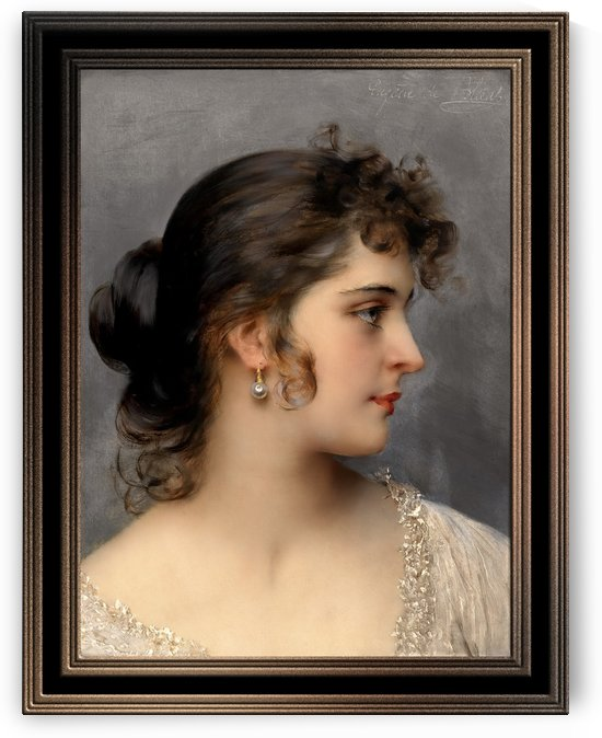 Bildnis Einer Dame by Eugene de Blaas Old Masters Classical Art Reproduction by xzendor7
