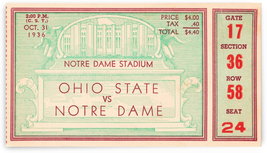 1936 notre dame ohio state football ticket stub sports art by Row One Brand
