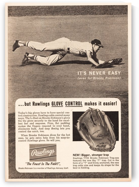 1963 brooks robinson rawlings baseball glove ad by Row One Brand