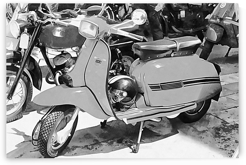 Lambretta Scooter Black and White by Dorothy Berry-Lound