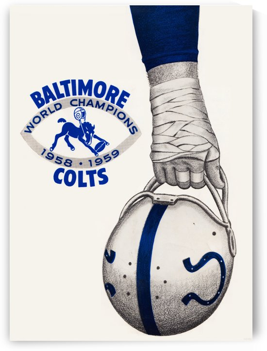 1958 Baltimore Colts Football Print by Row One Brand