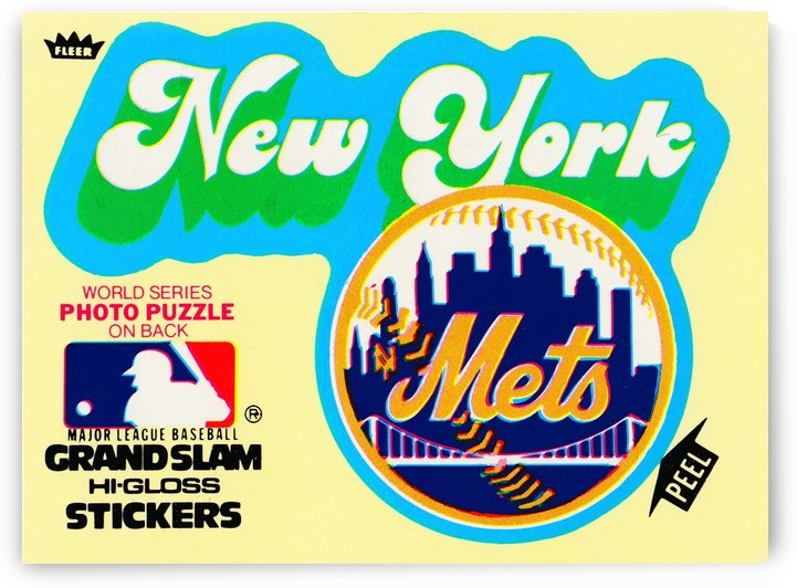 1979 fleer hi gloss sticker new york mets wall art by Row One Brand