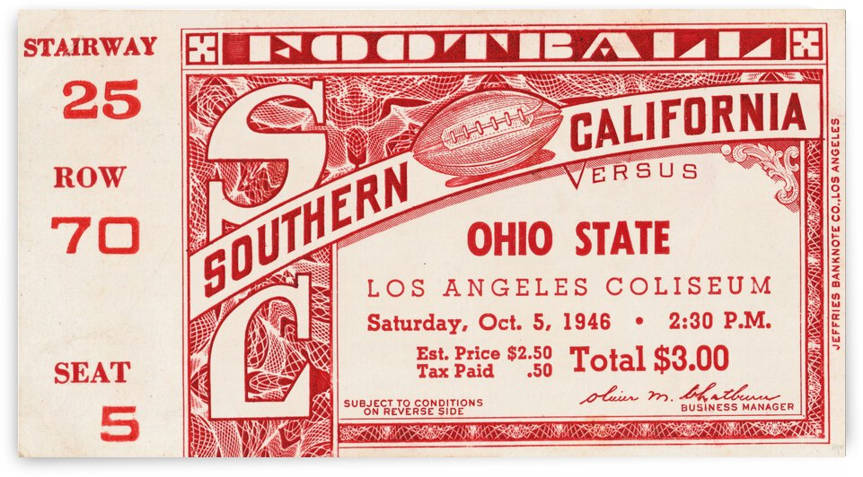 1946 usc ohio state buckeyes football ticket wall art sports gift by Row One Brand