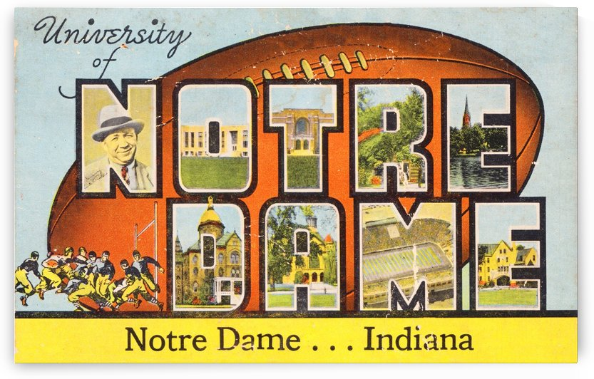 1954 notre dame football south bend art by Row One Brand