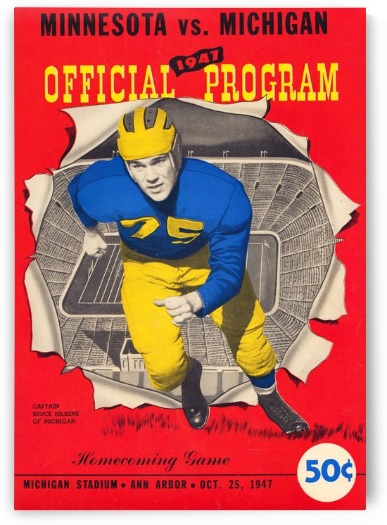 1947 minnesota university of michigan football program cover art canvas by Row One Brand