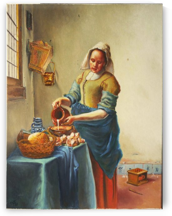 Reproduction Vermeer The Milkmaid  by Adina Lupan