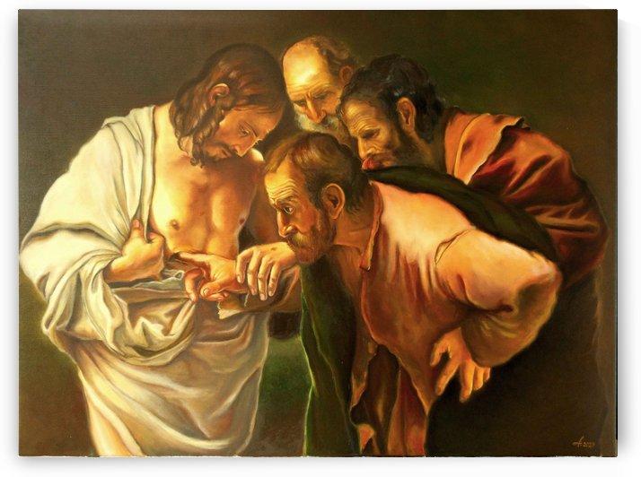 Reproduction Caravaggio The incredulity of Saint Thomas  by Adina Lupan