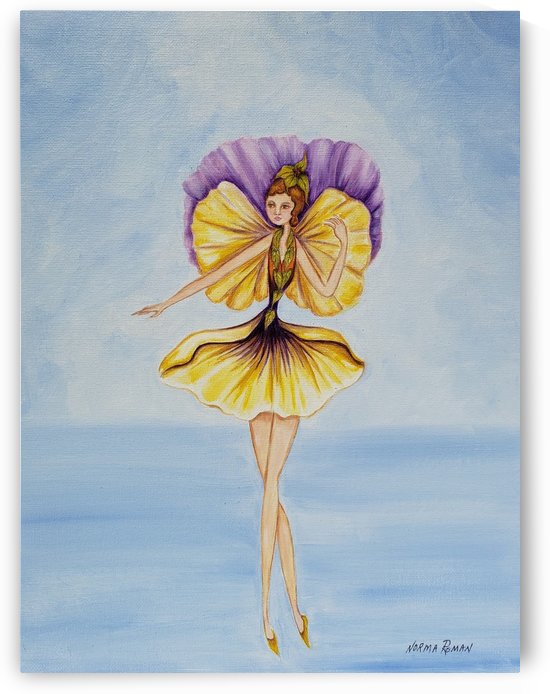 Fairy Yellow & Purple Flower Winged in Green Flower Dress by Norma Roman Creations
