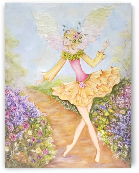 Fairy White Winged in Yellow & Pink Flower Dress with Green Leaves Walking on a Floral Path by Norma Roman Creations
