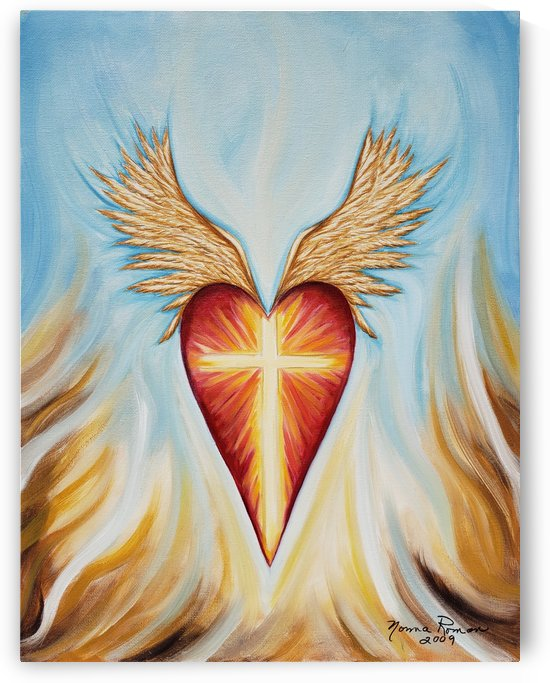 Cross on Fire with the Spirit Contained in a Winged Heart Surrounded by Flames by Norma Roman Creations