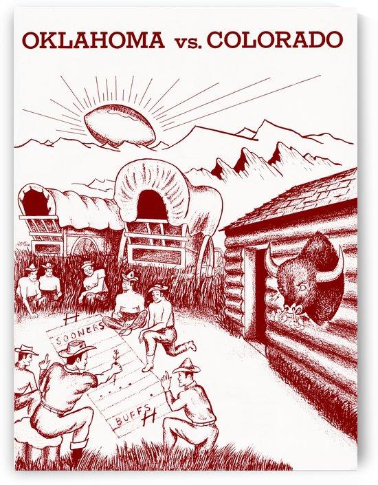 1954 oklahoma sooners colorado buffaloes football program canvas artwork by Row One Brand