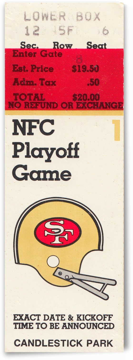 1984 San Francisco 49ers Ticket Canvas by Row One Brand