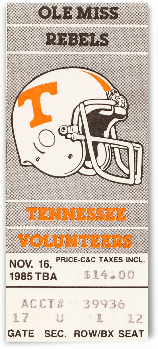 1985 tennessee vols ole miss rebels ticket art knoxville by Row One Brand