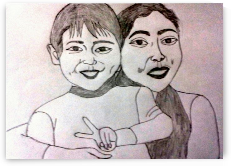 Mother with child by Lila