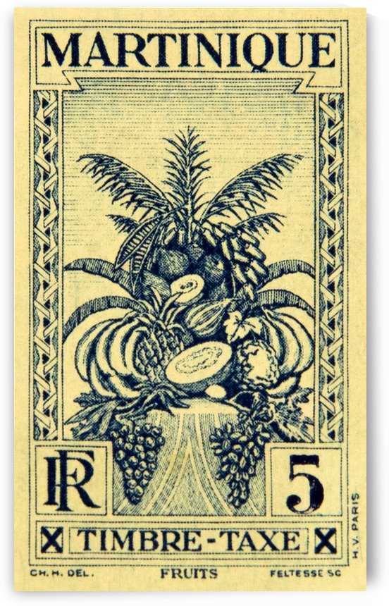 Martinique - Fruits Stamp by David Pinter