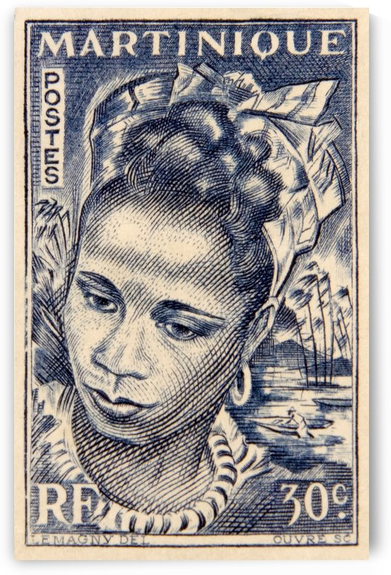 Martinique Lady Stamp by David Pinter