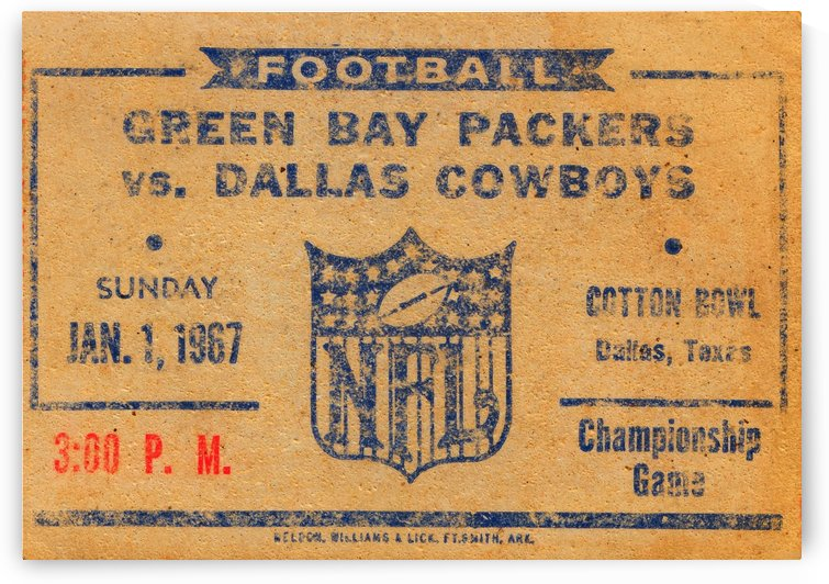 1967 green bay packers dallas cowboys nfl championship game by Row One Brand