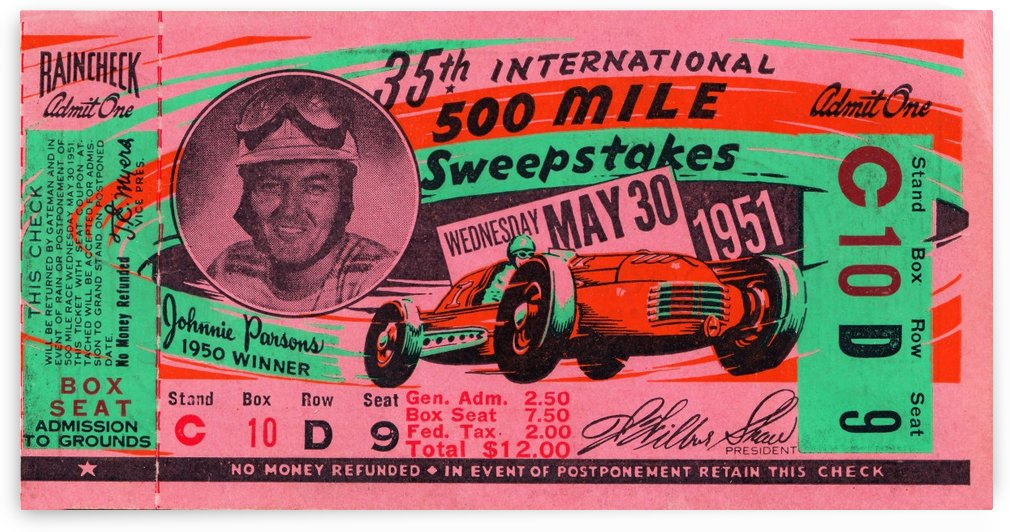 1951 indianapolis 500 mile sweepstakes auto race by Row One Brand