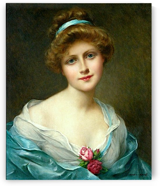 A Beautiful Elegant Lady In Blue Green With Rose Corsage _OSG  by One Simple Gallery