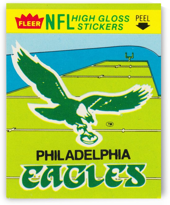 1981 fleer nfl high gloss stickers philadelphia eagles wall art by Row One Brand